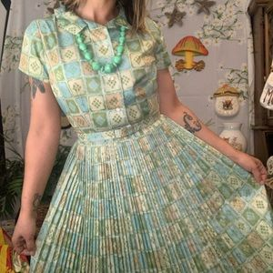 Vintage 1950s fit and flare pleated hostess dress